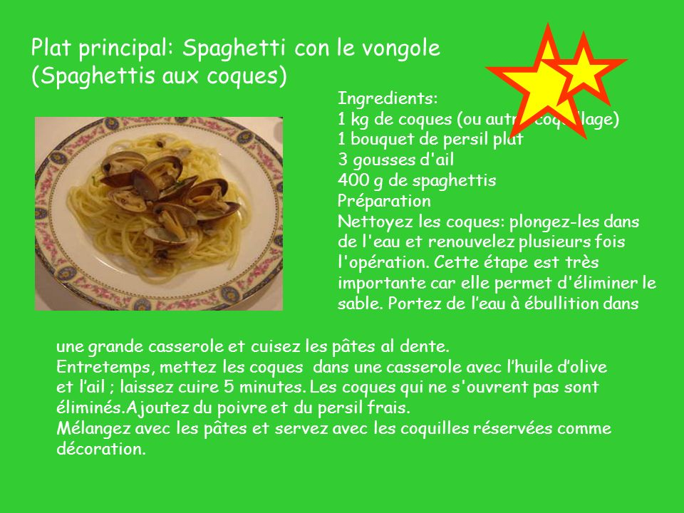 Plat principal: Spaghetti con le vongole (Spaghettis aux coques)