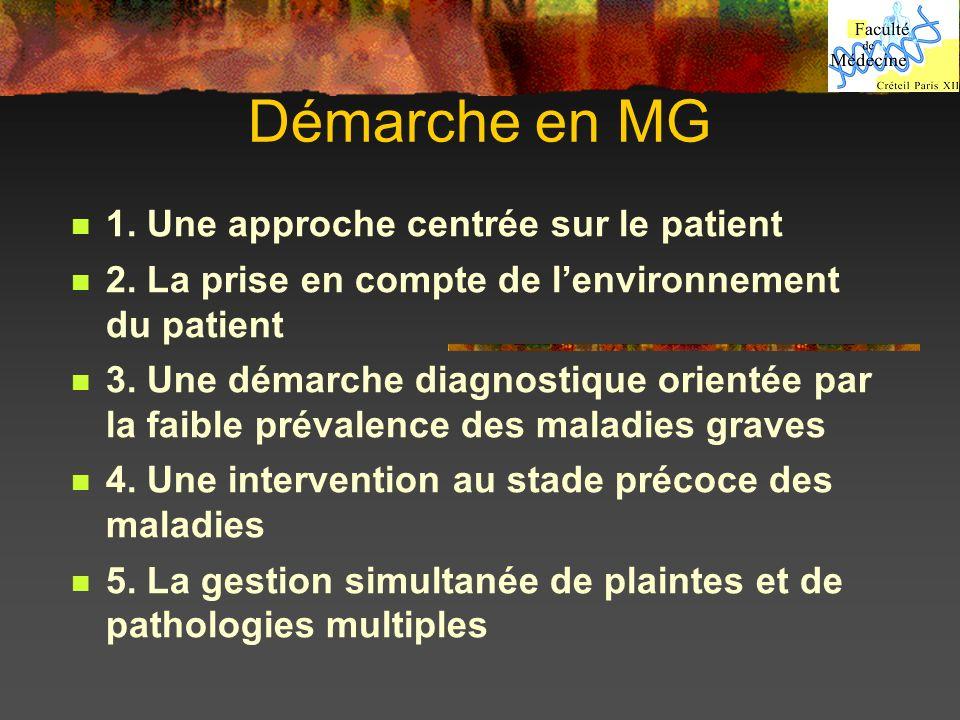 Démarche en MG 1. Une approche centrée sur le patient