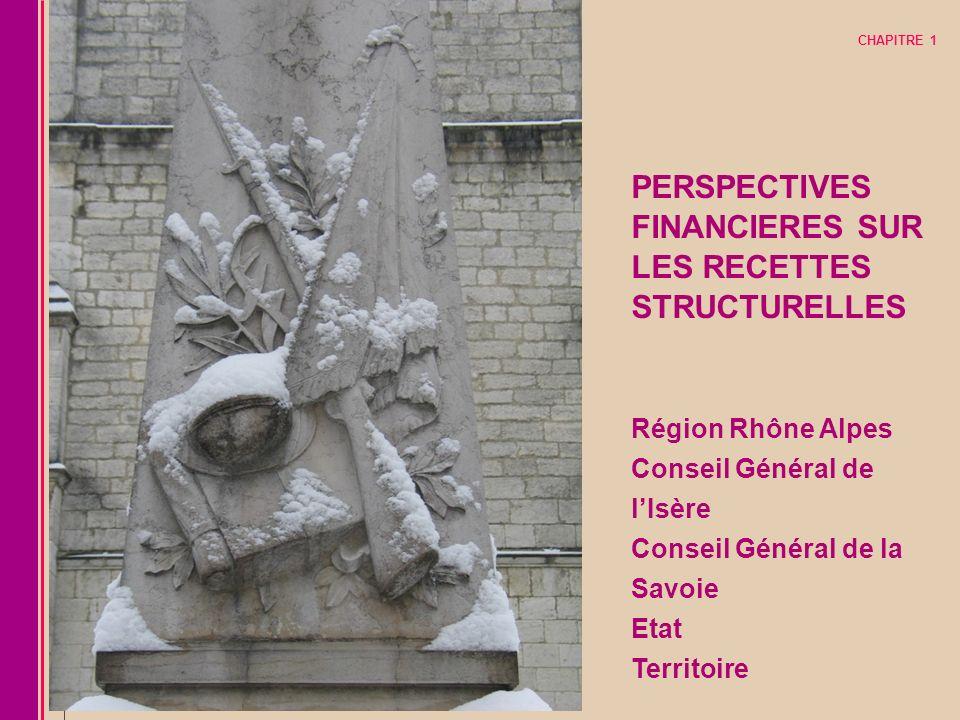 CHAPITRE 1 PERSPECTIVES FINANCIERES SUR. LES RECETTES STRUCTURELLES Région Rhône Alpes Conseil Général de l'Isère Conseil Général de la Savoie.