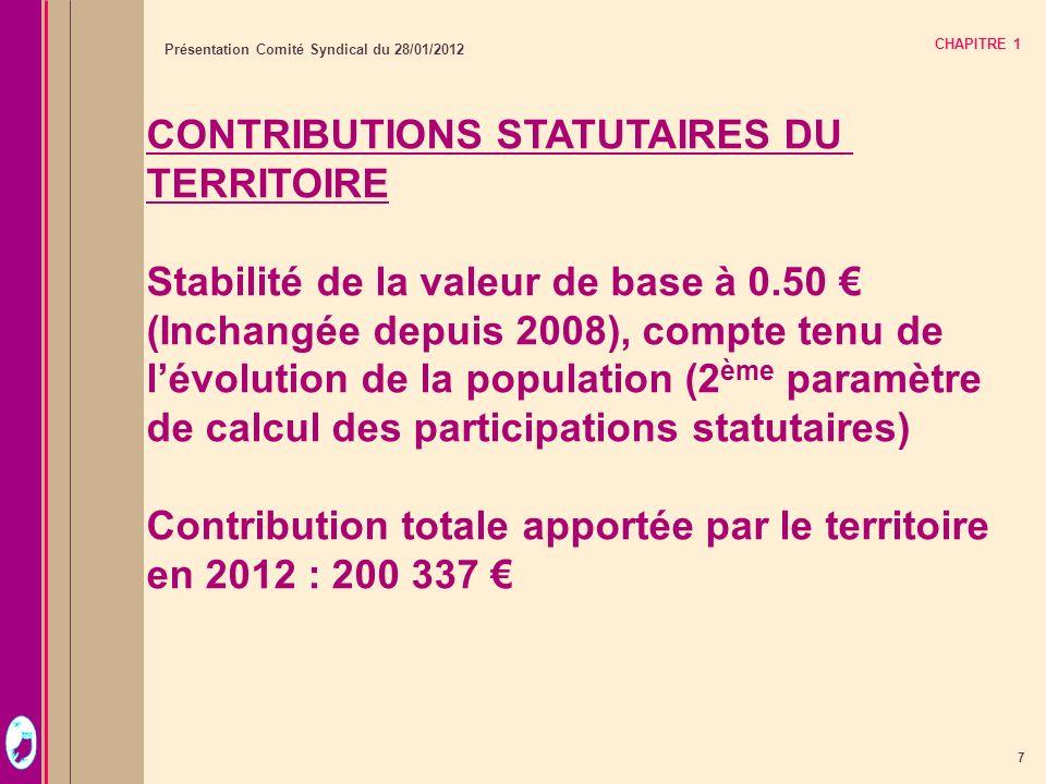 CONTRIBUTIONS STATUTAIRES DU TERRITOIRE
