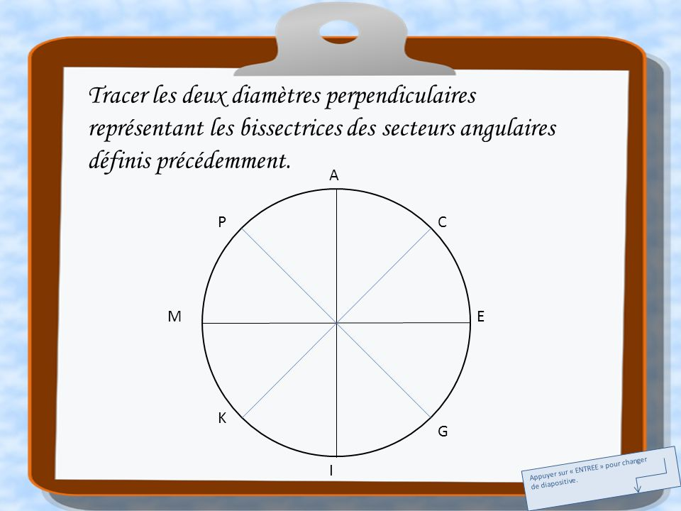 Tracer les deux diamètres perpendiculaires représentant les bissectrices des secteurs angulaires définis précédemment.