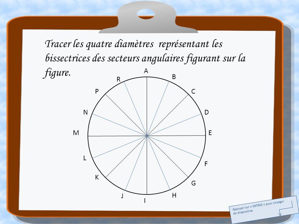 Tracer les quatre diamètres représentant les bissectrices des secteurs angulaires figurant sur la figure.