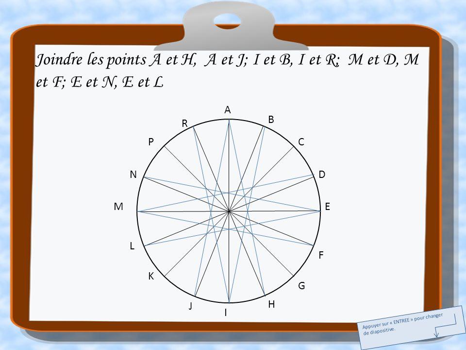 Joindre les points A et H, A et J; I et B, I et R; M et D, M et F; E et N, E et L