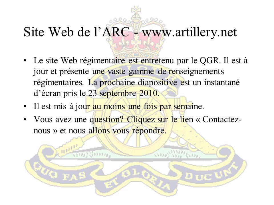 Site Web de l'ARC - www.artillery.net