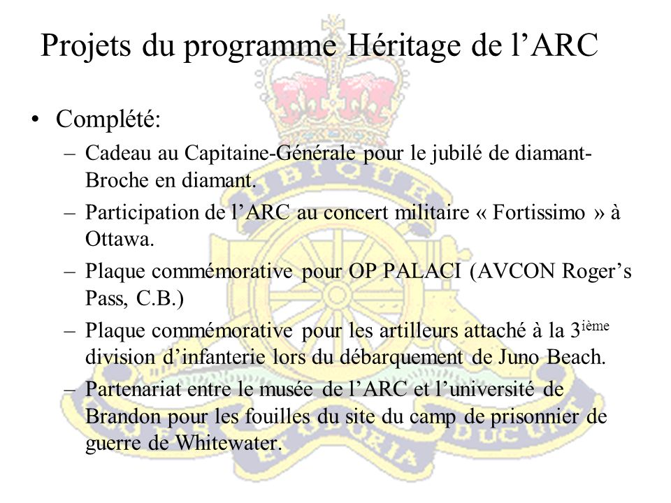 Projets du programme Héritage de l'ARC