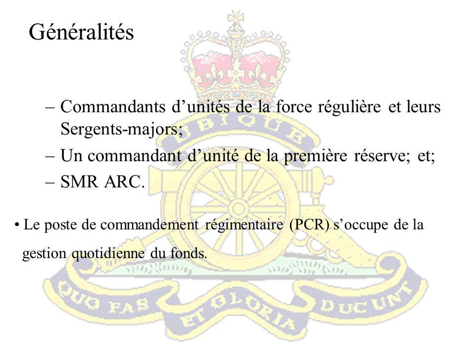 Généralités Commandants d'unités de la force régulière et leurs Sergents-majors; Un commandant d'unité de la première réserve; et;