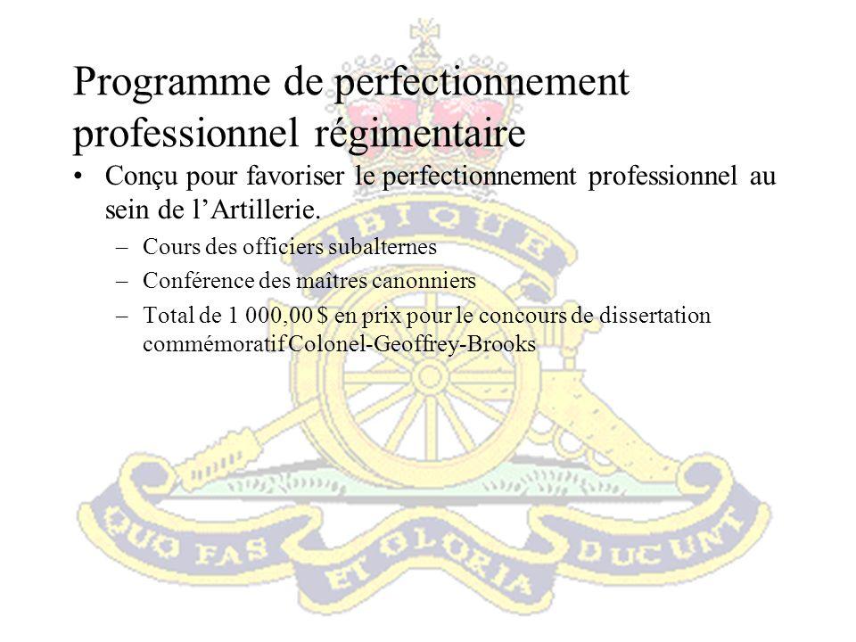 Programme de perfectionnement professionnel régimentaire