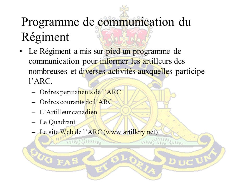 Programme de communication du Régiment
