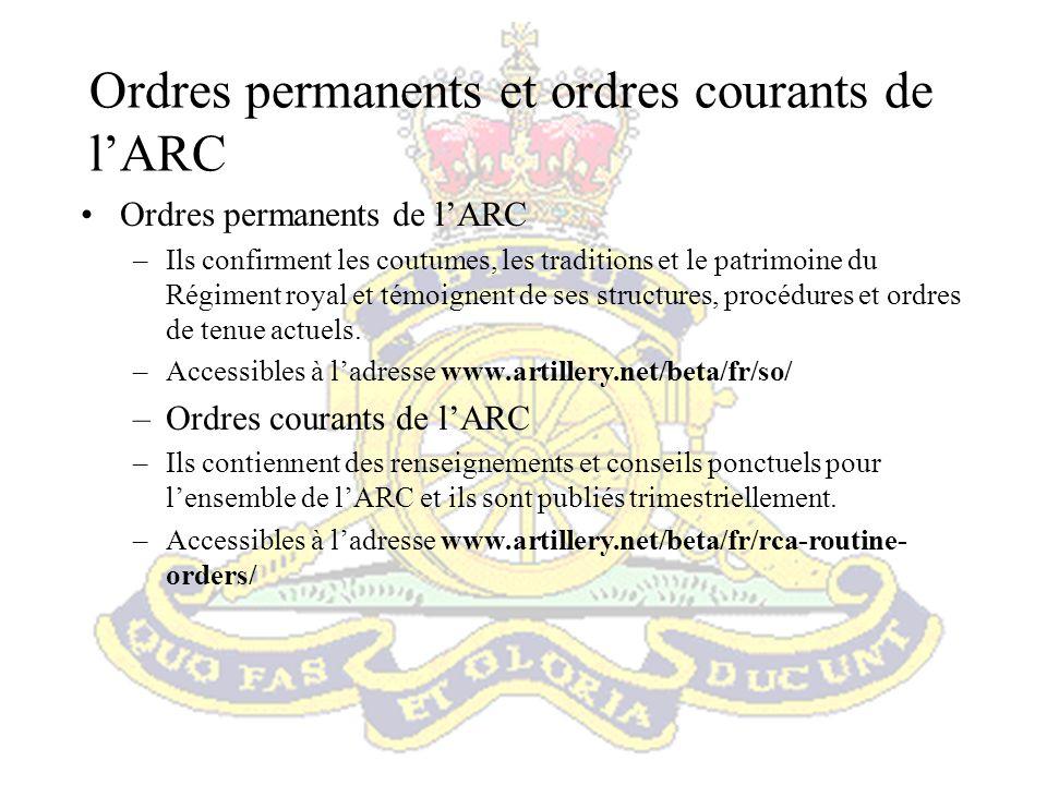Ordres permanents et ordres courants de l'ARC