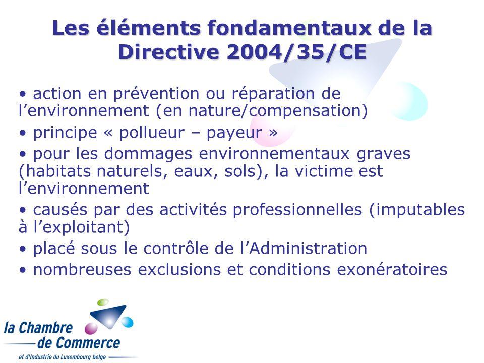 Les éléments fondamentaux de la Directive 2004/35/CE