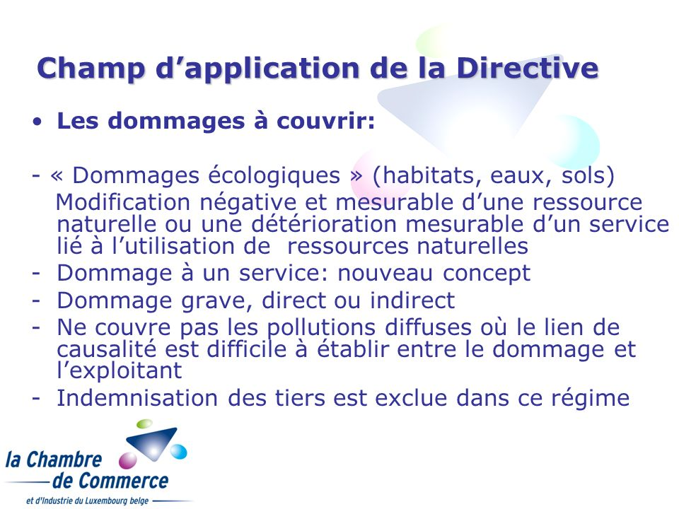 Champ d'application de la Directive