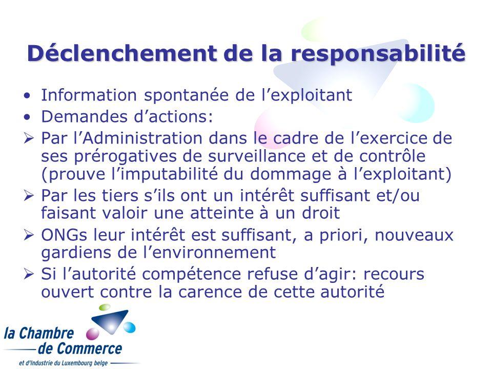 Déclenchement de la responsabilité