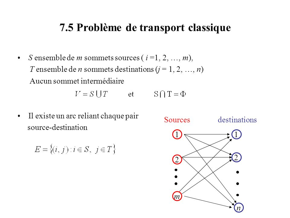 7.5 Problème de transport classique
