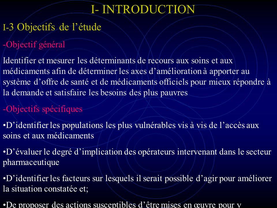 I- INTRODUCTION I-3 Objectifs de l'étude Objectif général
