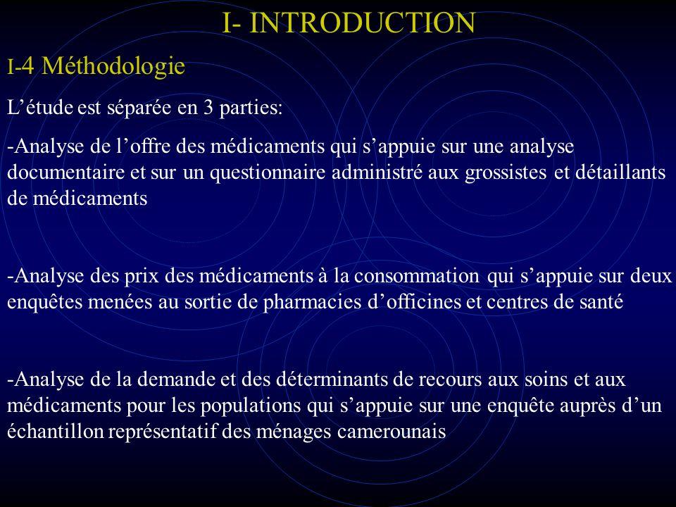 I- INTRODUCTION I-4 Méthodologie L'étude est séparée en 3 parties: