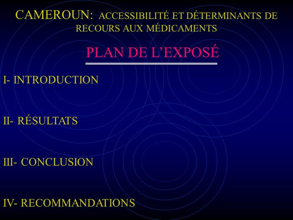 CAMEROUN: ACCESSIBILITÉ ET DÉTERMINANTS DE RECOURS AUX MÉDICAMENTS