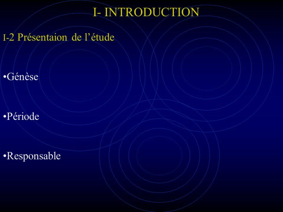I- INTRODUCTION I-2 Présentaion de l'étude Génèse Période Responsable