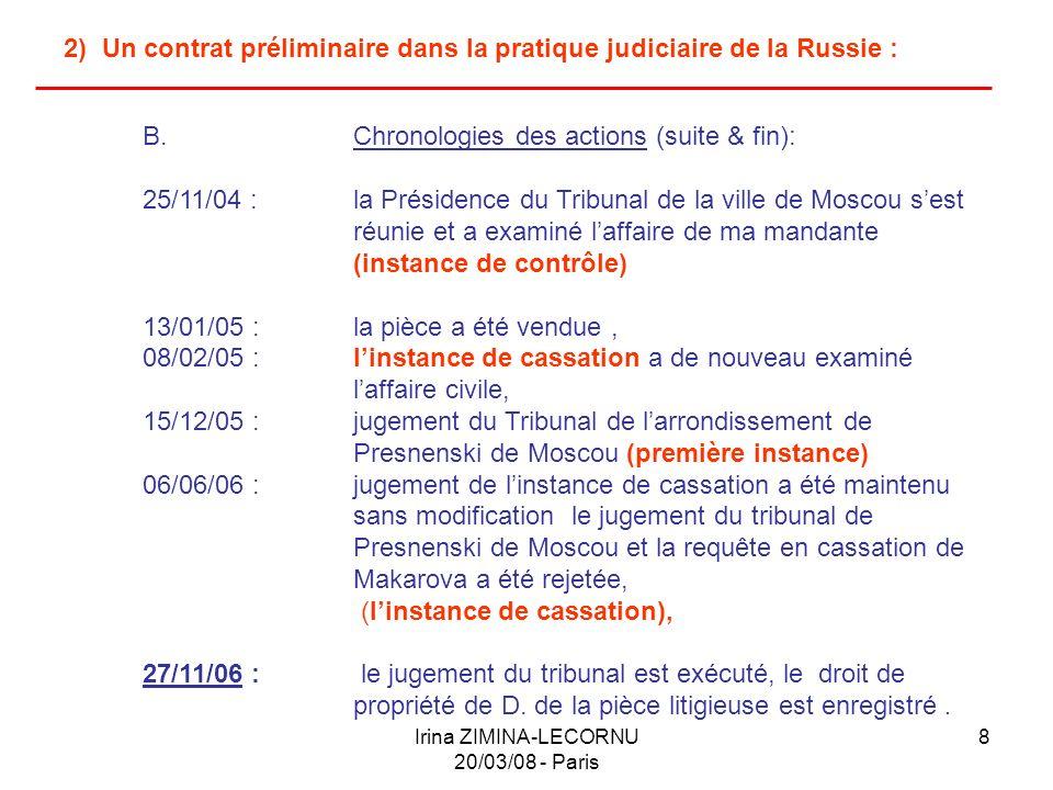 Irina ZIMINA-LECORNU 20/03/08 - Paris