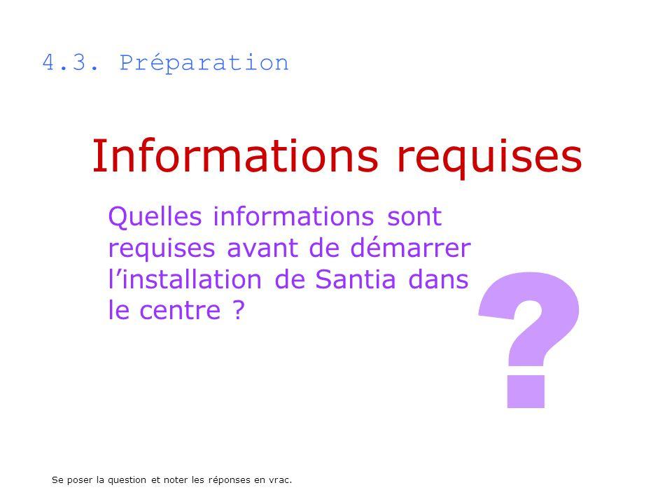 Informations requises 4.3. Préparation