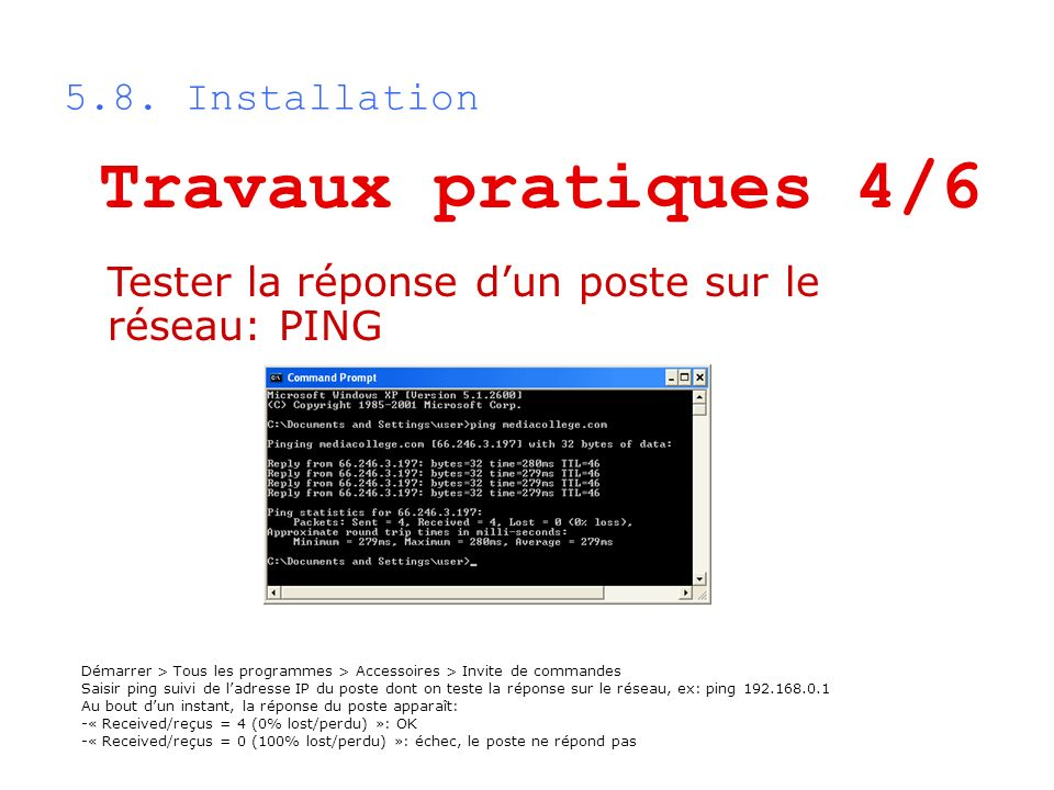 Travaux pratiques 4/6 5.8. Installation