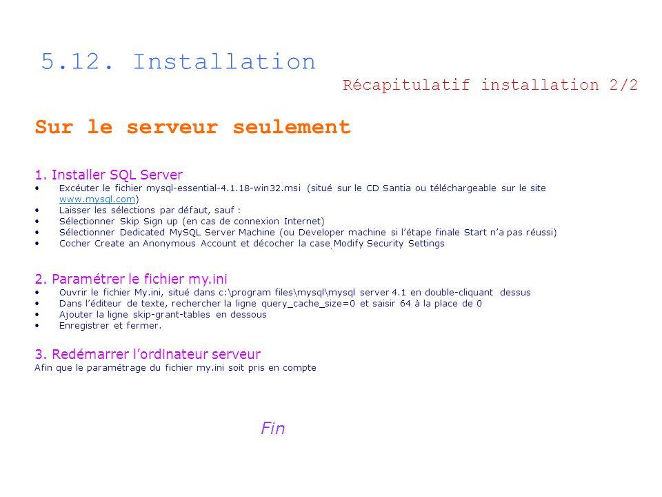 5.12. Installation Sur le serveur seulement