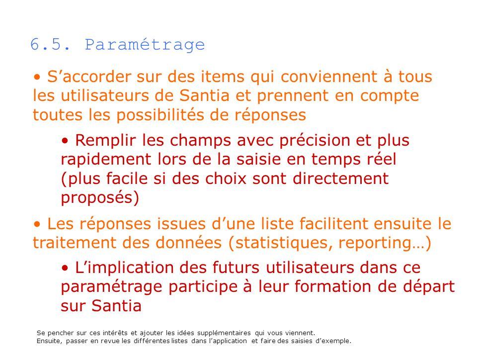 6.5. Paramétrage S'accorder sur des items qui conviennent à tous les utilisateurs de Santia et prennent en compte toutes les possibilités de réponses.