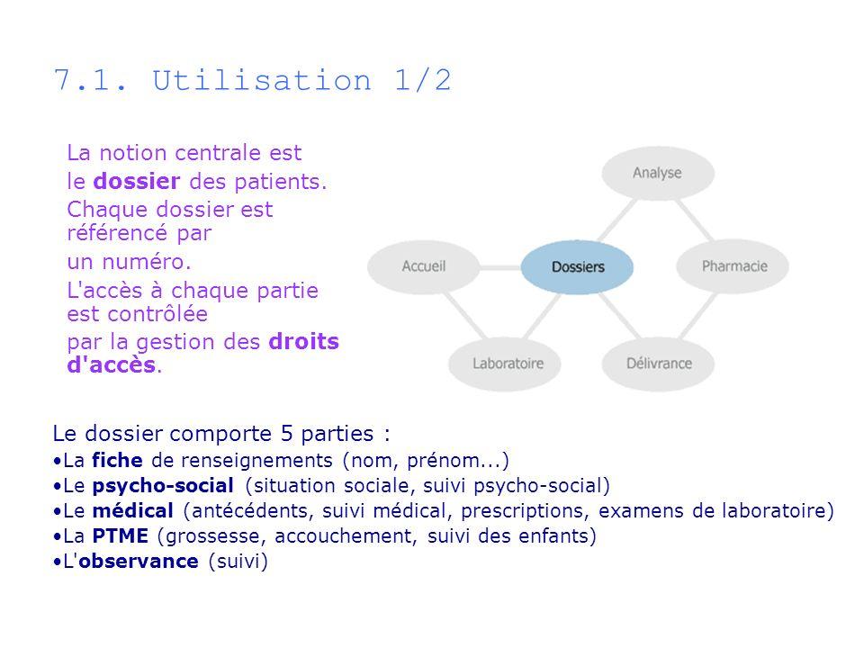 7.1. Utilisation 1/2 La notion centrale est le dossier des patients.