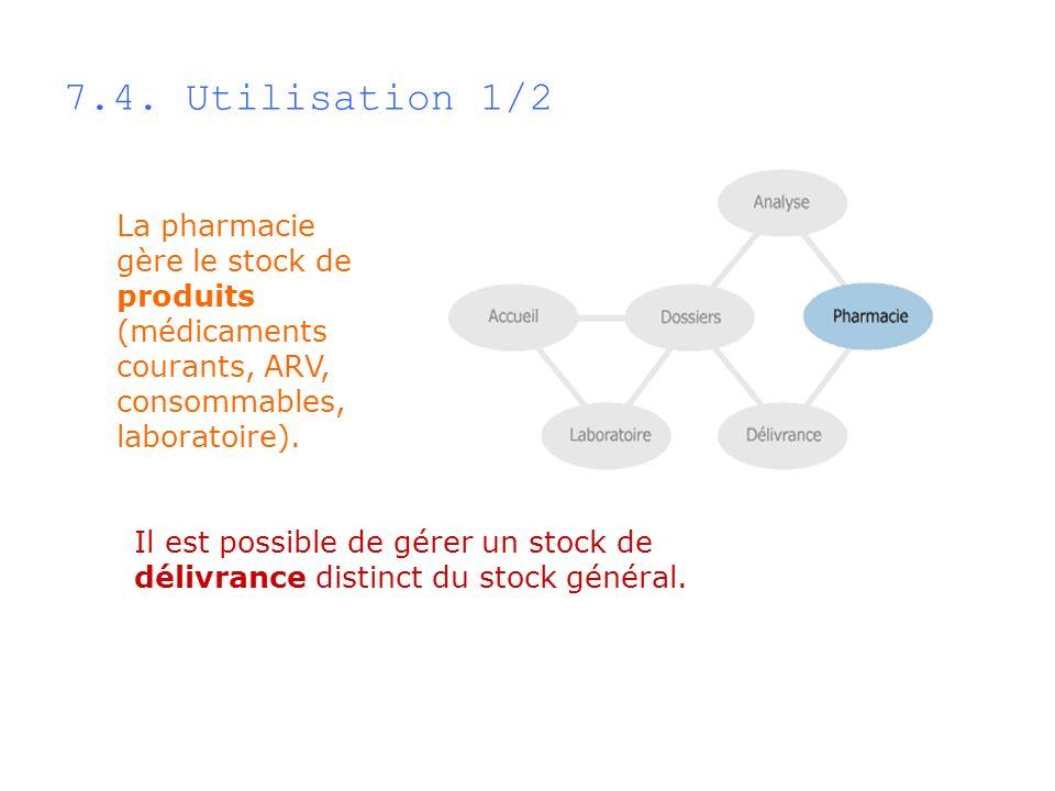 7.4. Utilisation 1/2 La pharmacie gère le stock de produits (médicaments courants, ARV, consommables, laboratoire).