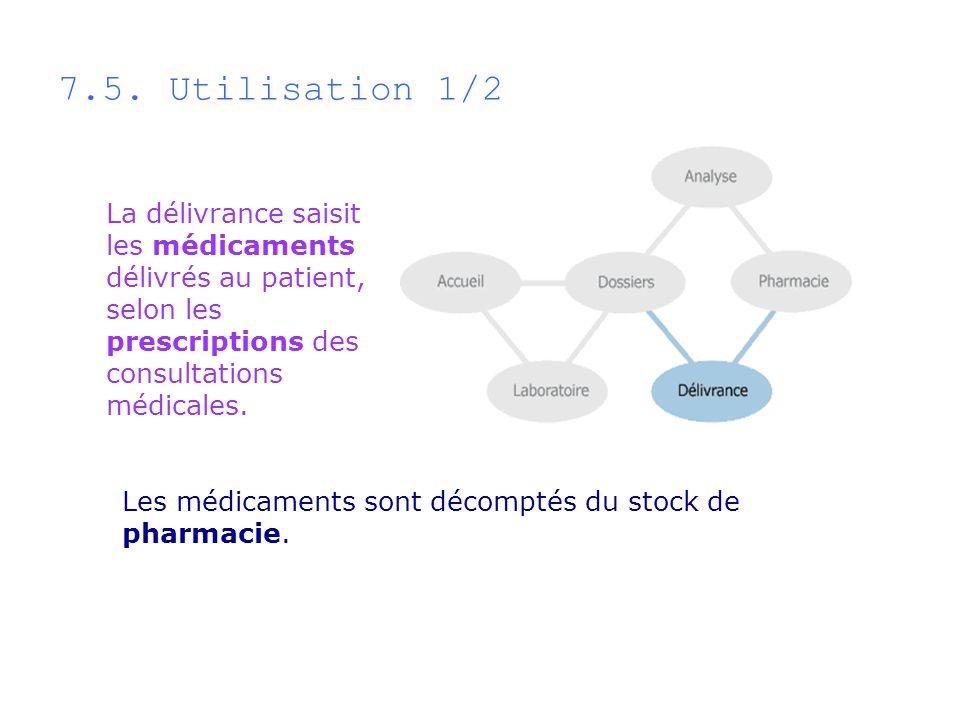 7.5. Utilisation 1/2La délivrance saisit les médicaments délivrés au patient, selon les prescriptions des consultations médicales.