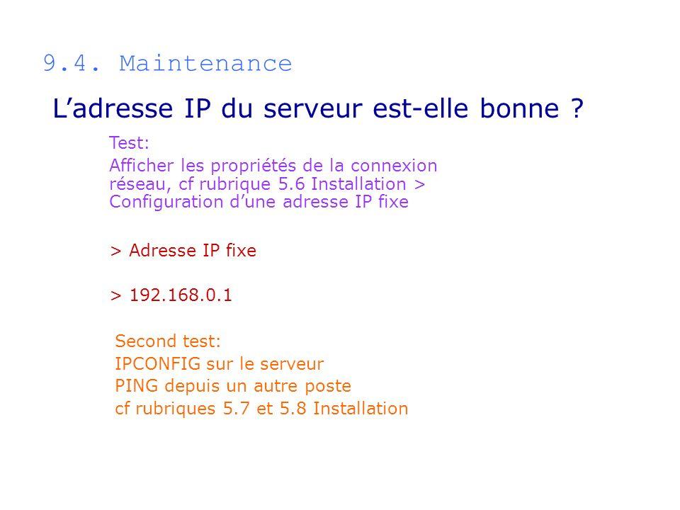 L'adresse IP du serveur est-elle bonne