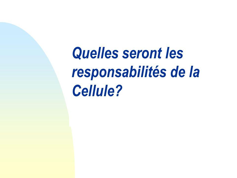Quelles seront les responsabilités de la Cellule
