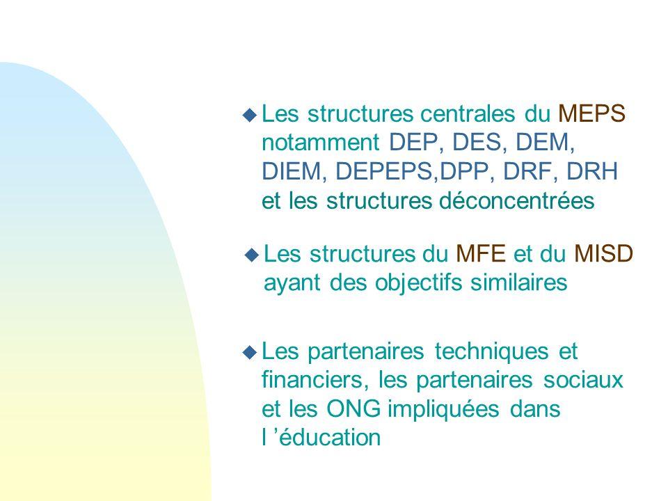 Les structures centrales du MEPS notamment DEP, DES, DEM, DIEM, DEPEPS,DPP, DRF, DRH et les structures déconcentrées