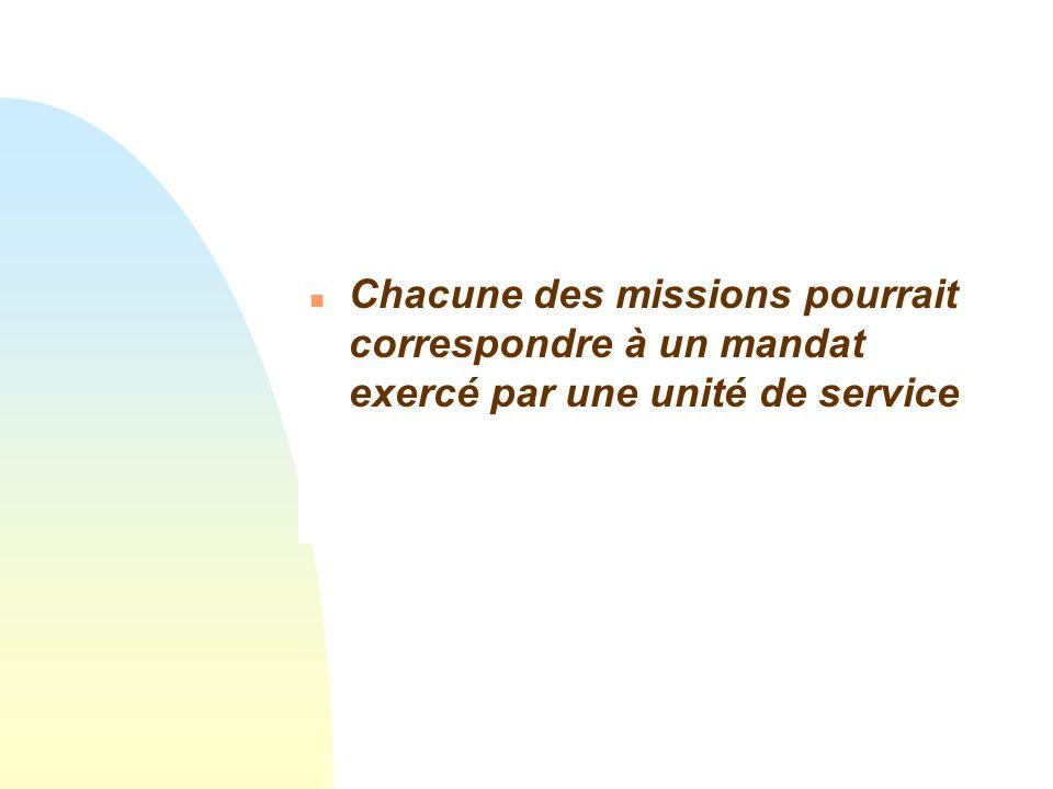 Chacune des missions pourrait correspondre à un mandat exercé par une unité de service
