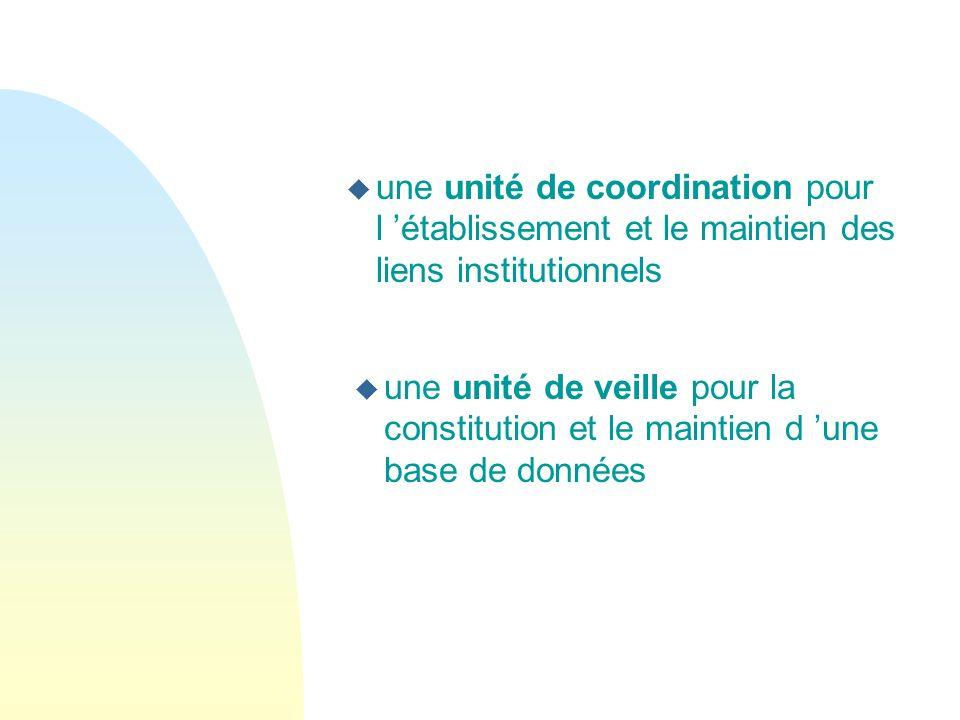une unité de coordination pour l 'établissement et le maintien des liens institutionnels