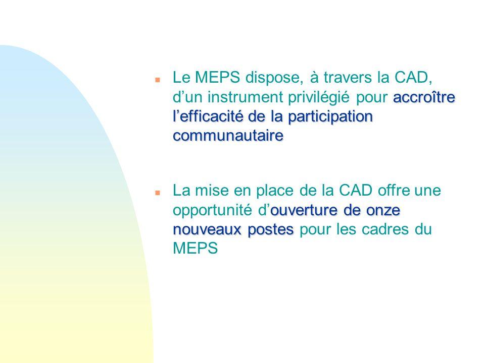 Le MEPS dispose, à travers la CAD, d'un instrument privilégié pour accroître l'efficacité de la participation communautaire