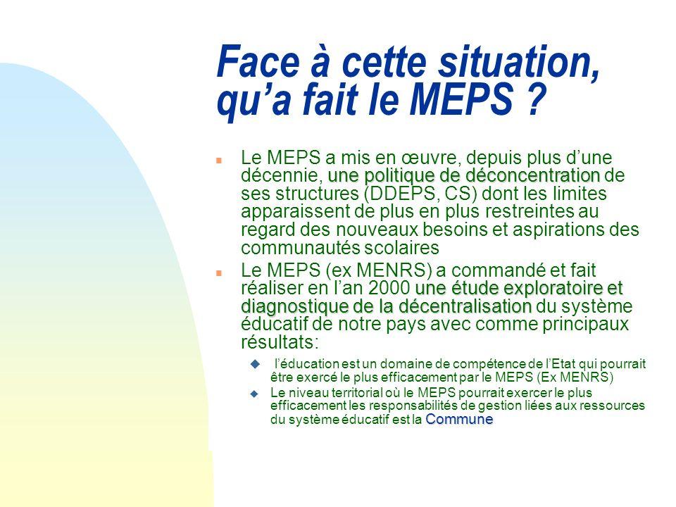 Face à cette situation, qu'a fait le MEPS