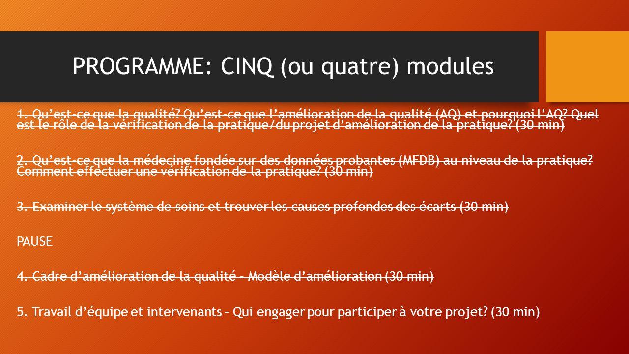PROGRAMME: CINQ (ou quatre) modules