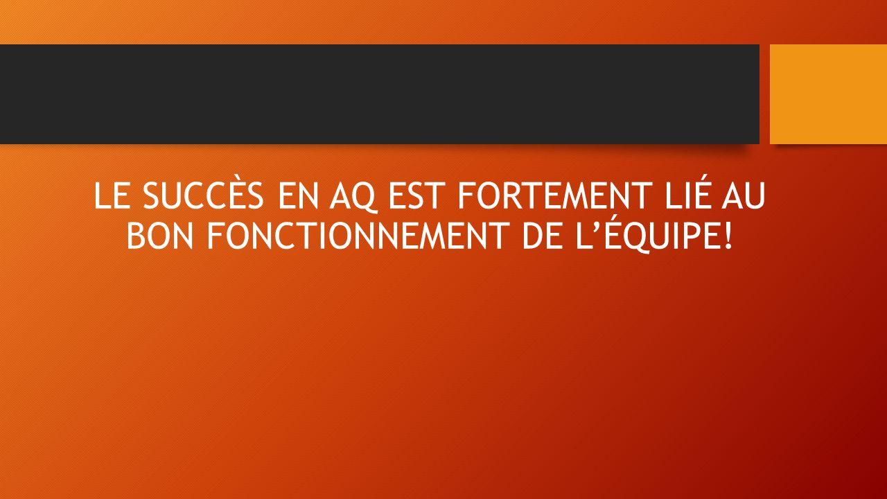 LE SUCCÈS EN AQ EST FORTEMENT LIÉ AU BON FONCTIONNEMENT DE L'ÉQUIPE!