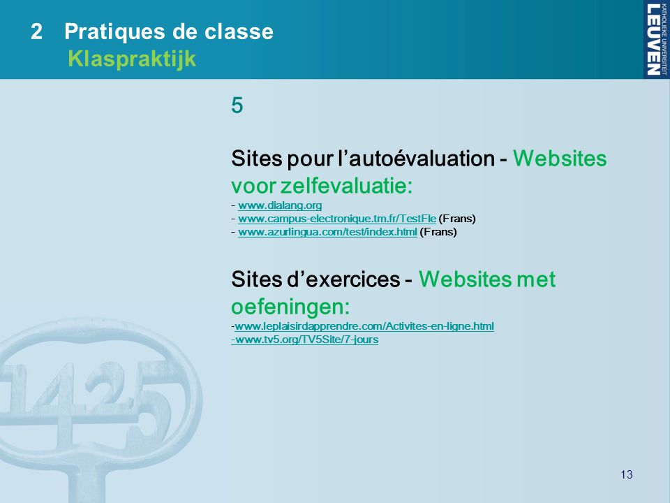 Sites pour l'autoévaluation - Websites voor zelfevaluatie:
