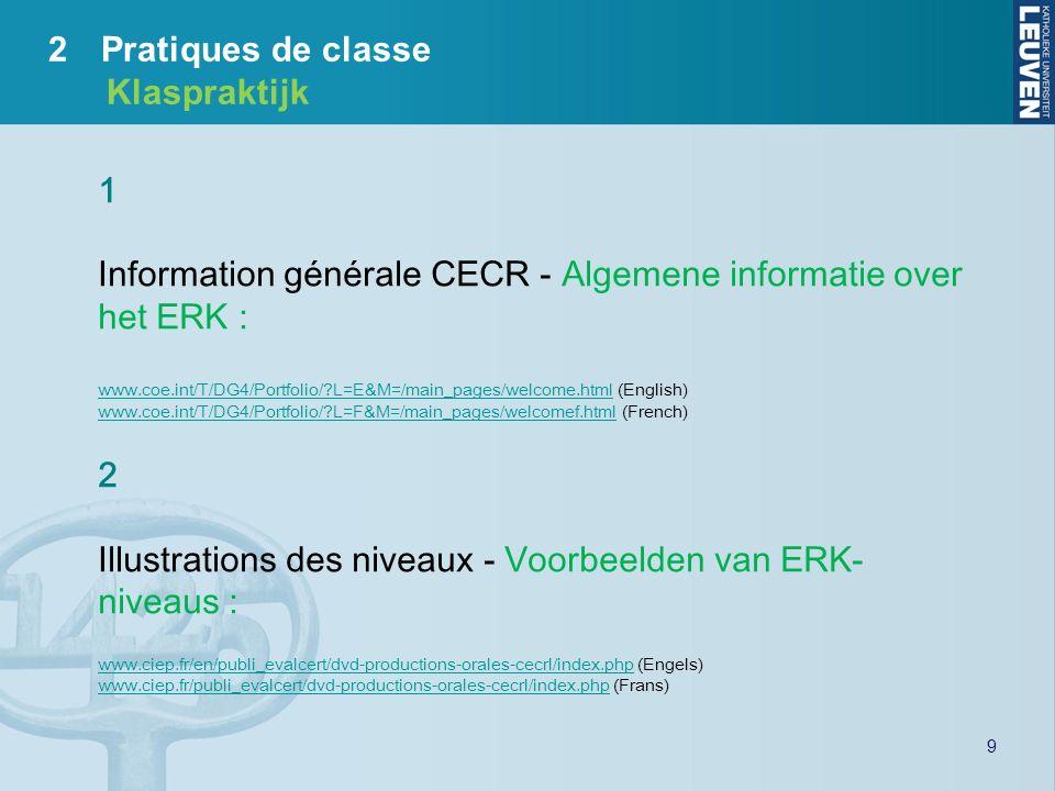 Information générale CECR - Algemene informatie over het ERK :