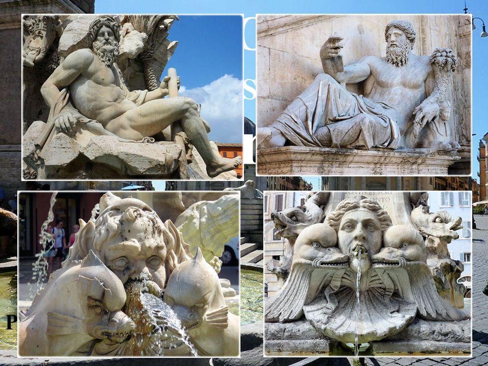 GROS PLAN SUR LES fontaines Piazza del popolo