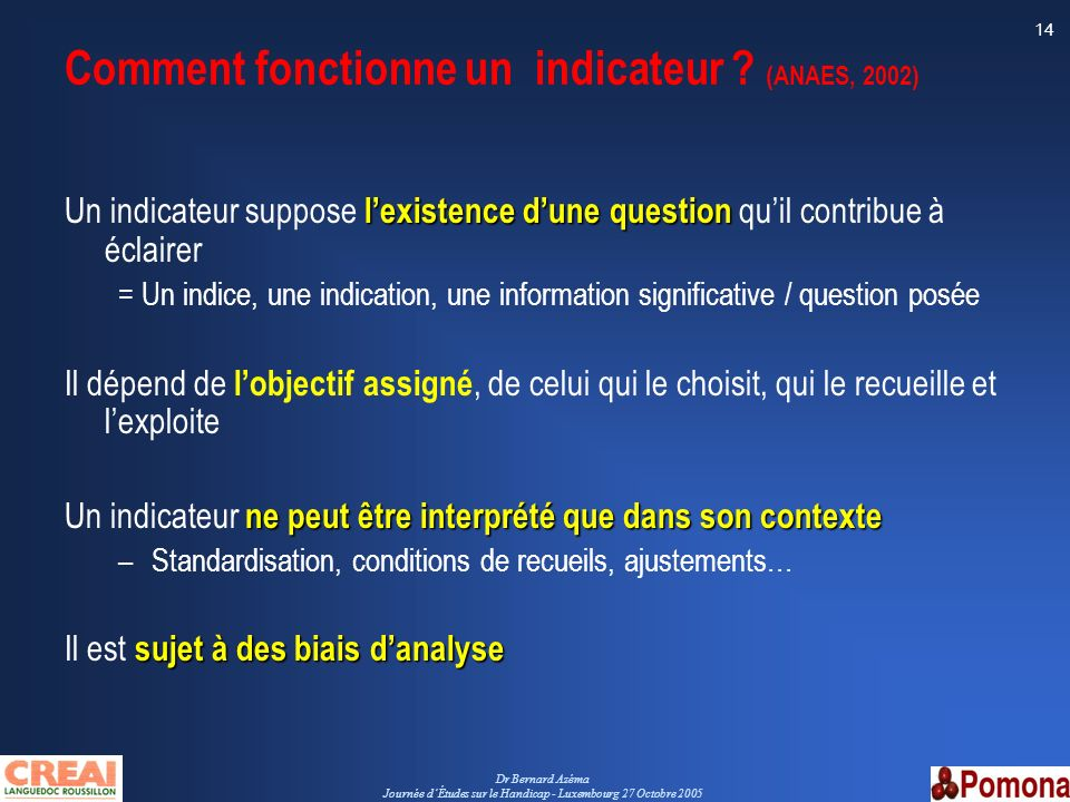 Comment fonctionne un indicateur (ANAES, 2002)