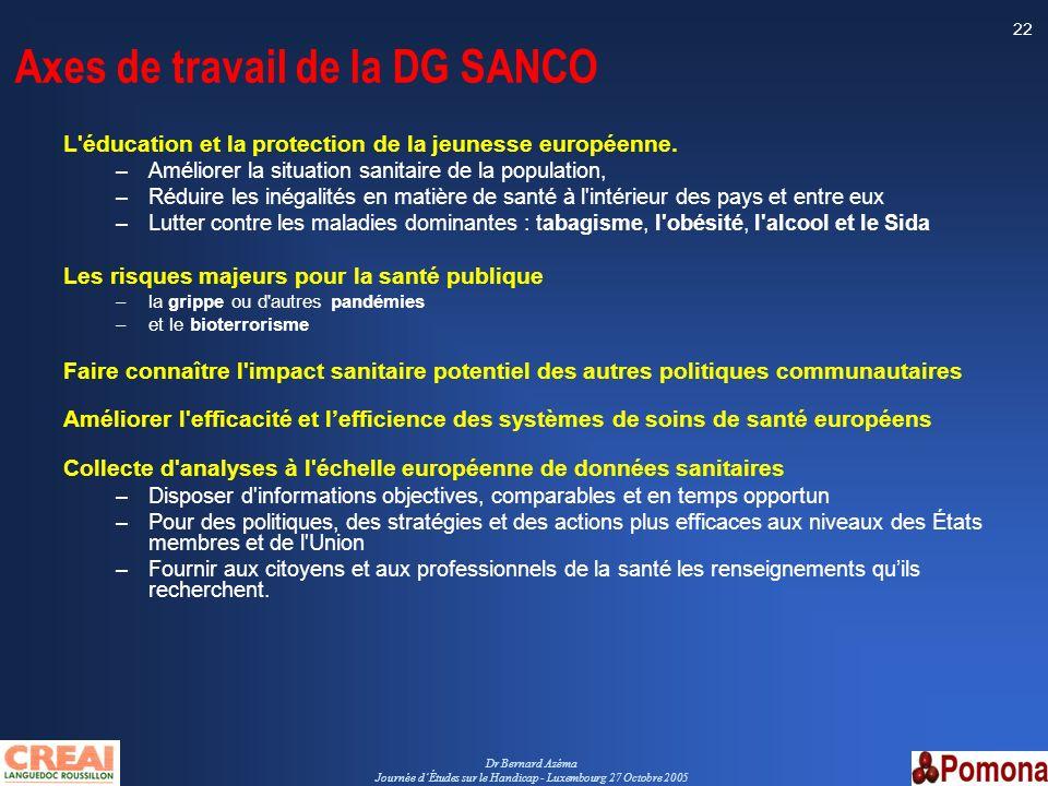 Axes de travail de la DG SANCO