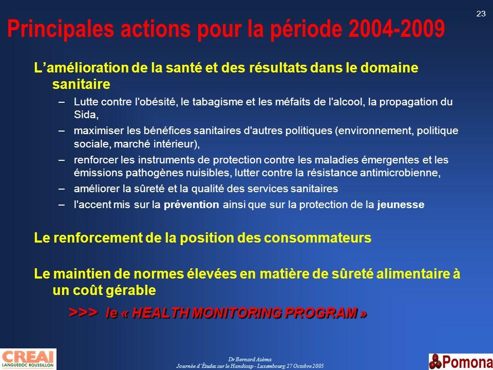 Principales actions pour la période 2004-2009