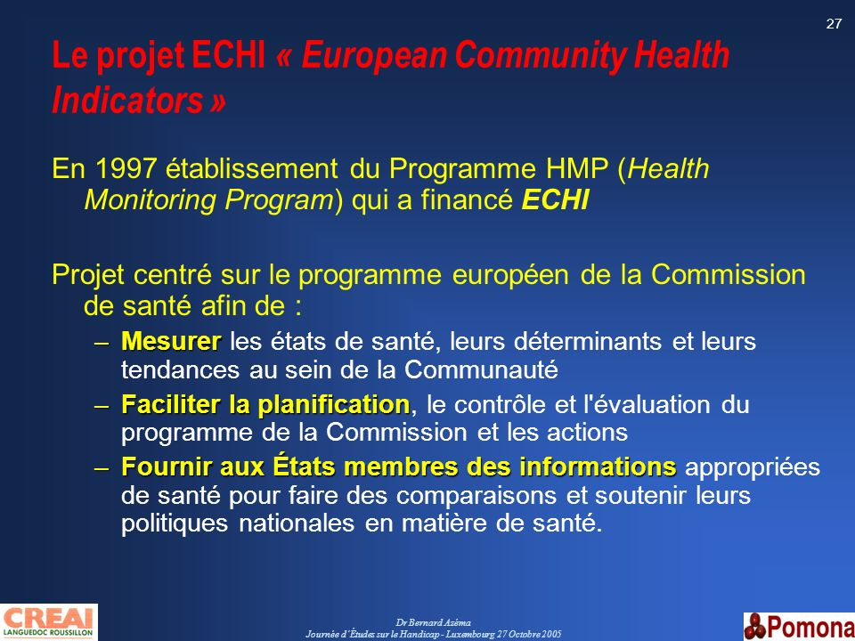 Le projet ECHI « European Community Health Indicators »