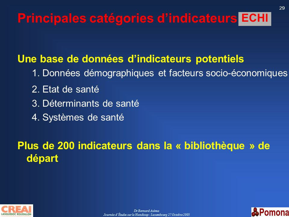Principales catégories d'indicateurs ECHI