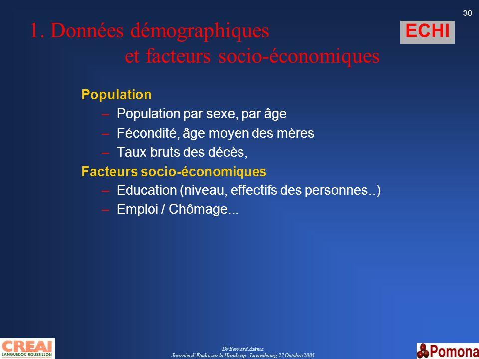 1. Données démographiques et facteurs socio-économiques