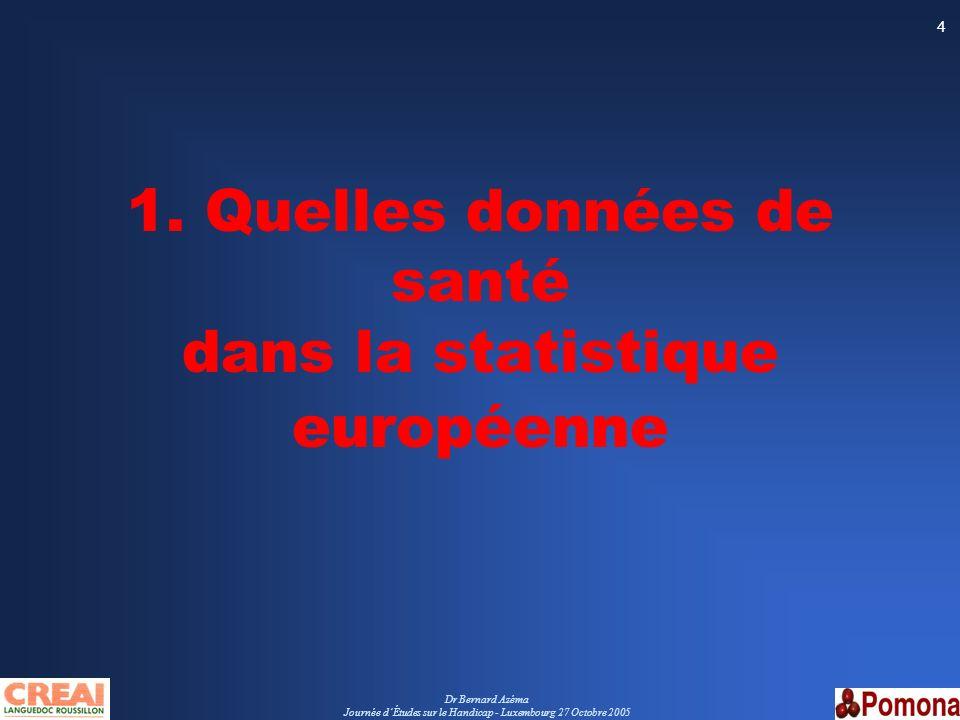 1. Quelles données de santé dans la statistique européenne
