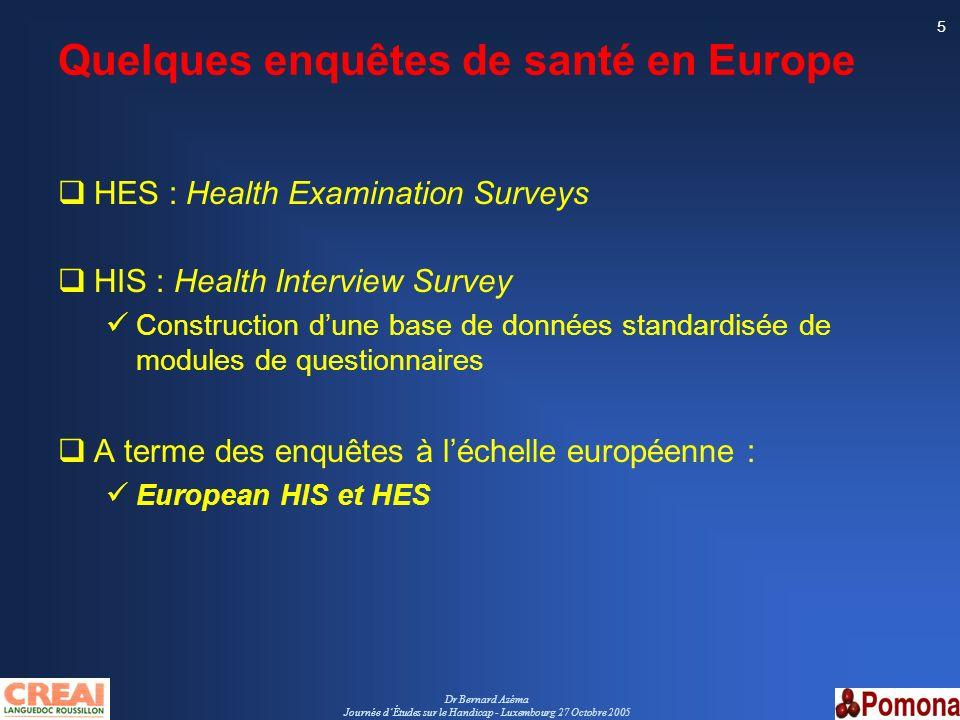 Quelques enquêtes de santé en Europe