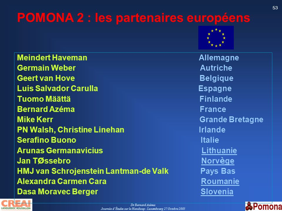 POMONA 2 : les partenaires européens